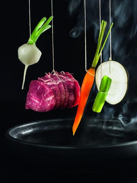 Bœuf limousin à la ficelle, légumes de mon jardin