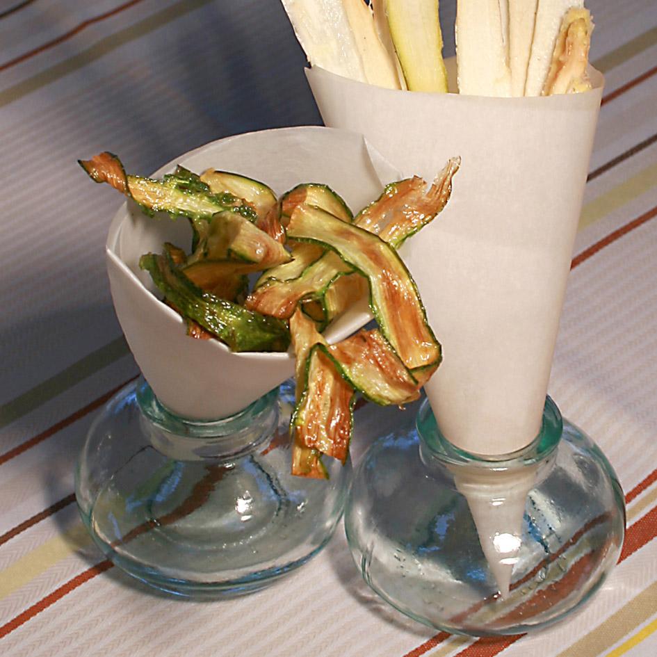 Chips d'asperges salées et sucrées