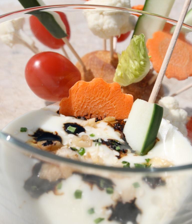 Croquant de légumes en vinaigrette de cabécou du Périgord