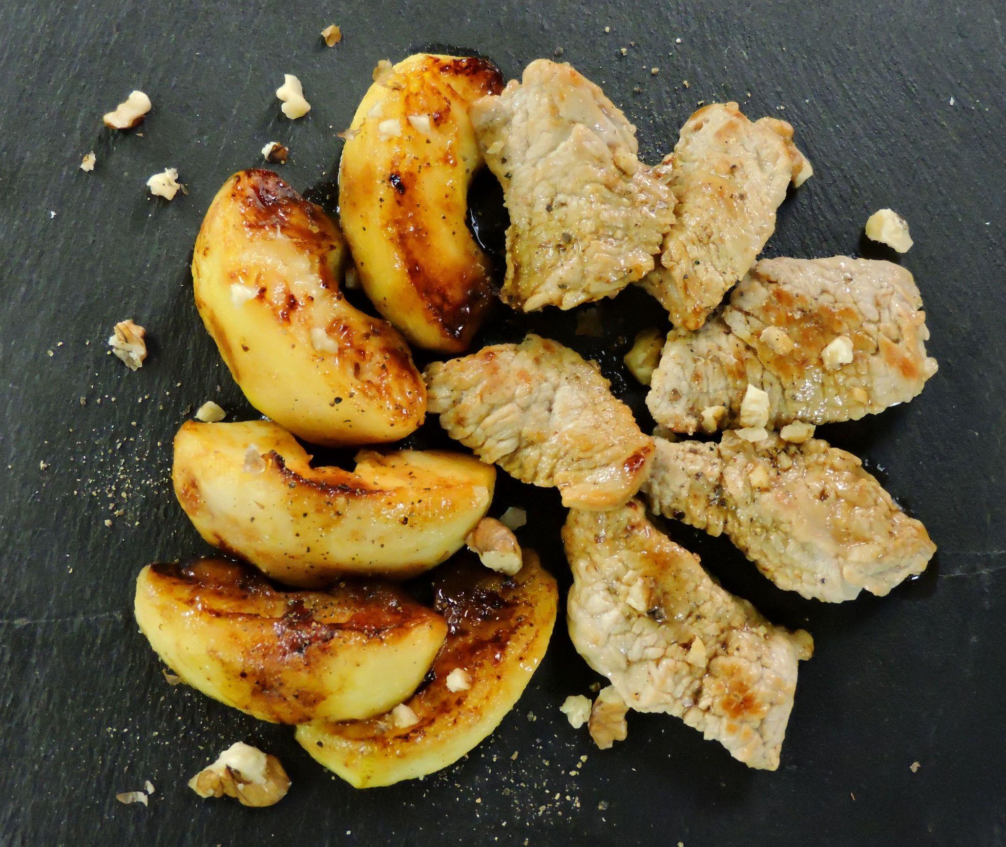 Émincé de veau aux pommes et aux noix