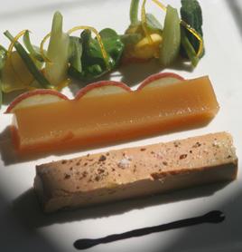 Foie gras du Sud-Ouest mi-cuit, gelée de pommes du Limousin