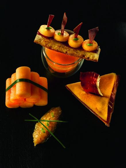 Melon de Nérac en compression et jambon de Bayonne chutney de gingembre et oignon