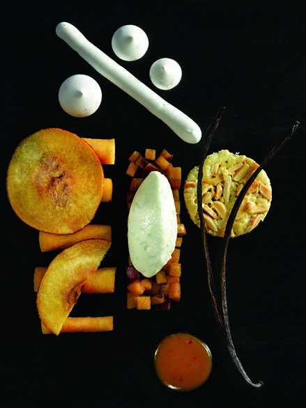 Pêche Roussanne de Monein, melba, chantilly thym-citron