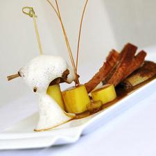 Pigeonneau rôti au épices cuisses et pommes de terre confites au sauternes