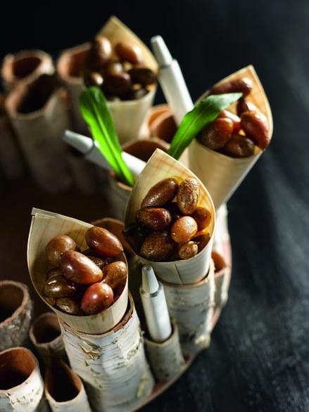 Cornet de pommes de terre d'Eysines confites, pommade culinaire à l'ail des ours