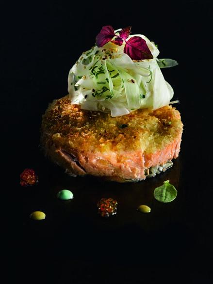 Truite du Pays basque en croûte de pomme de terre aux deux citrons cru/cuit de fenouil au curry vert, jus thaï